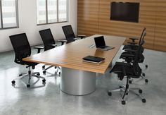 KI Serenade conference table for sale. Serenade rectangular conference table with metal drum bases and high pressure laminate surface. Serenade power ready conference table available in and surface lengths. Business Furniture, Contract Furniture, Conference Table For Sale, Conference Room, Conference Meeting, Loft Wall, Corporate Interiors, Quality Furniture, Custom Wood