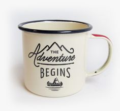 "This enamel mug features The Adventure Begins design on the front with the Gentlemen's Hardware logo on the opposite side. A compass is printed on the bottom of the mug. 3"" tall x 3.5"" wide - approxim"