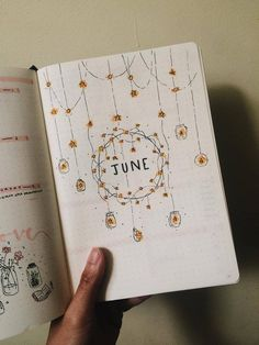 "My June ""intro"" page. Tried to go for a fairy lights / starry theme. : bulletjournal"
