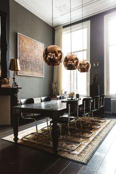 e ideas for: dining room chandelier dining room design modern dining room design luxury contemporary dining r Dining Room Lamps, Family Dining Rooms, Luxury Dining Room, Dining Lighting, Dining Room Design, Dining Tables, Table Lamps, Copper Dining Room, Living Rooms