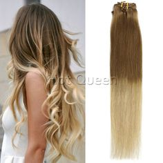"""Clip In 100% Remy Human Hair Extensions Ombre T#10/22 7pc/Set 16""""-28"""" #HotQueen #HairExtension"""