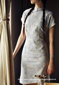 Short Sleeve  Floral  Cheongsam  / Size S to by RockRollRefresh, $35.00