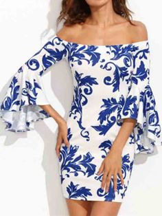 Sexy Off Shoulder Printed Bell Sleeve Women Mini Dresses