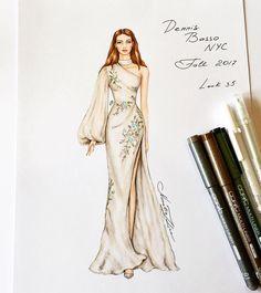 933 個讚,6 則留言 - Instagram 上的 NataliaZ.Liu(@nataliazorinliu):「 Beautiful Dennis Basso NYC gown @dennisbassonyc #handdrawn #sketch #dennisbasso #nyc #designer… 」