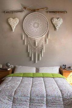 Dream Catcher Decor, Doily Dream Catchers, Crochet Dreamcatcher, Macrame Wall Hanging Diy, Diy Crafts For Home Decor, Bedroom Decor, Wall Decor, Macrame Design, Macrame Patterns