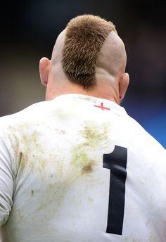 England's Joe Marler shows off his latest haircut
