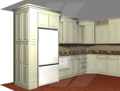 """Build in your refrigerator with a 12"""" deep pantry, adjacent to your fridge. This is a great way to conceal a deep fridge, and offer pantry storage. Use decorative door panels, to finish the side. by christian"""