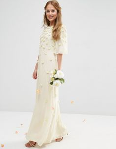 Image 1 of ASOS BRIDAL Scattered 3D Floral Flutter Sleeve Maxi Dress