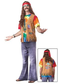 Attend Woodstock in this Plus Size Retro Men's Hippie Costume, and feel the good vibes! Bring your guitar and join in the party. Peace, dude!