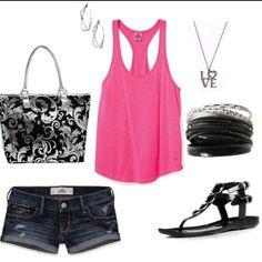 Black, sliver & pink outfit