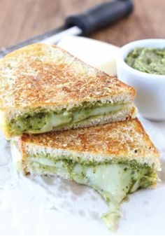 Parmesan Crusted Pesto Grilled Cheese Sandwich – The ultimate comfort food recipe your whole family will love.