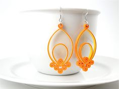 Orange Dangle Earrings  A pair of lightweight statement earrings that are fun and bold. These are made entirely out of paper so they can be