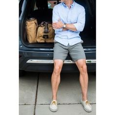 boat shoes/slip ons, with a short cut above the knee, and a cuffed button down.    The suits and trendy hair cuts are great, but a guy that knows casual, is where it's at.  I may or may not enjoy seeing a Pantera tee and boxer briefs, but hey...