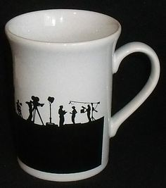 "www.jaedasplaythings.com Kilncraft Mug Cup Coloroll Lights Camera Action Movie England Black White 3.75"" #KilncraftColoroll"