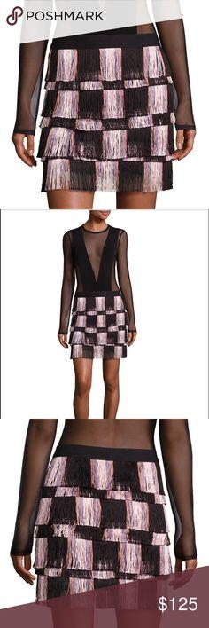 "NWT BCBG Max Azria Fringed Mini Skirt Banded Waist - Lined - 16"" from hem to bottom BCBGMaxAzria Skirts Mini"