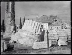 Looking up to acropolis from Temple of Olympian Zeus, Athens 1894. Woodhouse Archive
