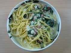 Spaghetti mit Blattspinat und Speck - Rezept