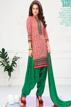 Be an angel and create and establish a smashing impression on for every person by carrying this green and pink cotton designer patiala salwar kameez. The interesting embroidered and lace work a cons. Ladies Salwar Kameez, Patiala Salwar Suits, Designer Punjabi Suits, Silk Suit, Victoria Dress, Red Carpet Dresses, Party Wear, Casual Wear, Fashion Outfits