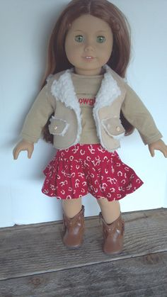 """American Girl 18"""" Doll Clothes-Cowgirl Outfit: Ruffled Horseshoe Skirt, T-shirt and Sherpa Vest  £13.86"""