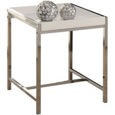 Monarch Accent Table, White Acrylic with Chrome Metal