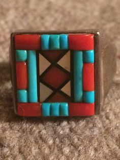 Vintage Signed Native American Sterling Silver Mosaic Inlay Ring by Carolyn Bobelu by Tessey2 on Etsy https://www.etsy.com/listing/211762287/vintage-signed-native-american-sterling