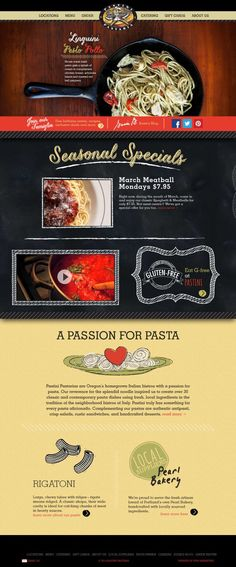 Pastini Pastaria - Italian Restaurants with a Passion for Pasta located in Portland - Webdesign inspiration www.niceoneilike.com
