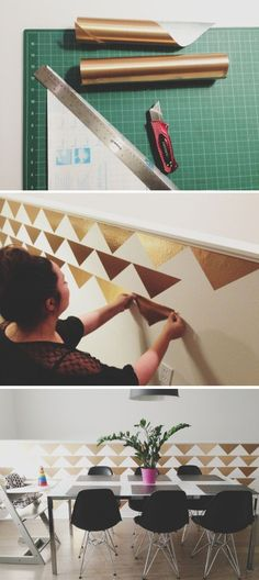 Looking to spruce up your walls in a rental property?  Check out how to create a temporary DIY triangle accent wall for Less than $3!