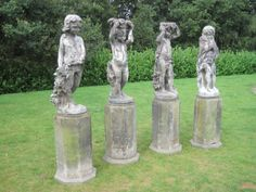 Antique Set of 4 Lead J P White Statues - The 4 Seasons,set,4,seasons,lead,j p white,statue,garden antiques,antiques,garden,buy,sell,uk,ukaa...