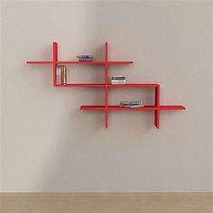 Decortie Matte Estuary Wall Shelves, Red