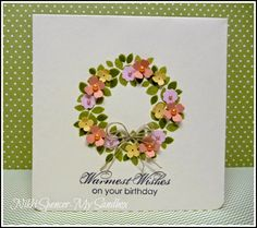 Stampin' Up! ... handmade birthday card from My Sandbox ... sweet stamped wreath with tiny punched flowers sporting tiny colored pearls ... bow of linen ... sweet look ...