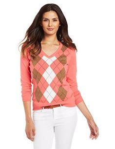 Caribbean Joe Women's Cotton Argyle Sweater, Rosy Cheeks, Large
