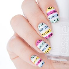 White with 'strips of Mini eggs' design Love Nails, Pretty Nails, My Nails, Essie, Easter Nail Art, Mini Eggs, Striped Nails, Egg Designs, You Look Beautiful
