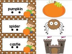 two-syllable word matching game- part of fall centers