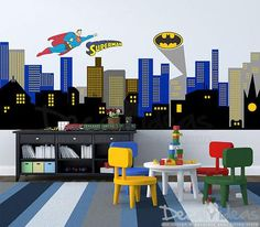 Customize City Silhouette Wall Decal, City buildings Wall Decal, Boys Room…