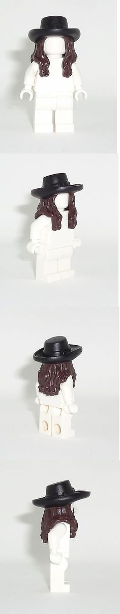 Minifigure Parts and Accessories 180023: Lego Minifig Dark Brown Long Wavy Hair With Black Hat With Buckle Pattern 4195 -> BUY IT NOW ONLY: $31.95 on eBay!