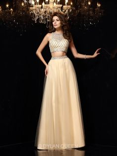 champagne two piece prom dresses