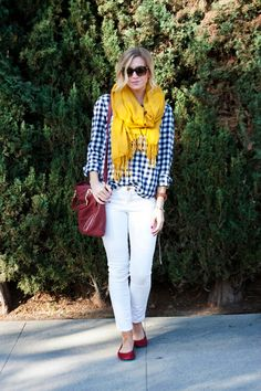Fun mix of primary colors with white jeans and red flats