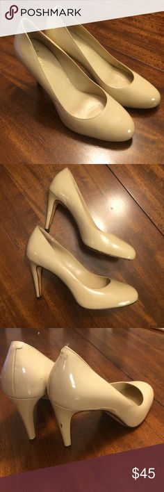 Cole Haan Nude pump Perfect little pump. Nude color. Good used condition. Some scuff marks and one crack in Patent Leather on left side of left shoe. Cole Haan Shoes Heels
