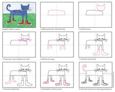 How to rock a Pete the Cat drawing. Free PDF tutorial. #Petethecat