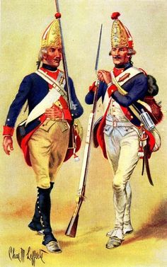Grenadiers, Hesse-Cassel and Brunswick Regiments, 1776-1777