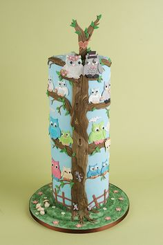 Stacked Owl Cake - Using Patchwork Cutters Owl Set. 16 Birthday Cake, 16th Birthday, Wedding Anniversary Cakes, Wedding Cakes, Patchwork Cake, Owl Wedding, Sculpted Cakes, Themed Cakes, Cupcake Cakes