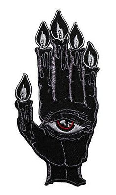 Hand of Glory Embroidered Iron On Patch - Gothic Eye Candle Creepy Band Patches, Cool Patches, Pin And Patches, Sew On Patches, Iron On Patches, Custom Embroidered Patches, Motorcycle Patches, Skull Art, Punk Fashion