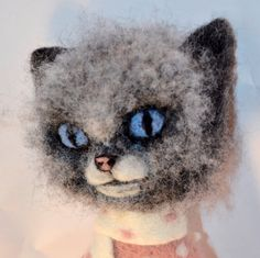 """Cat 14"""" Gift For Her Gift For Him needle felted. (55.00 USD) by SandalFelt"""