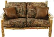 Rustic log sofa with distressed leather pillows! Leather Pillow, Cow Hide, Made In America, Distressed Leather, Sofas, Couch, Rustic, Pillows, Furniture