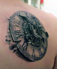 tatuaż 3d zegar