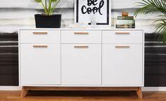 Förvaring i modern retrostil. EM Möbler-Arild buffé Cabinet, Storage, Furniture, Home Decor, Interiors, Home, Sweden, White Oak Tree, Beautiful Homes
