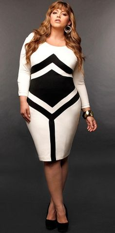 Get this dress on @Wheretoget or see more #dress #black_and_white #arrow #plus_size
