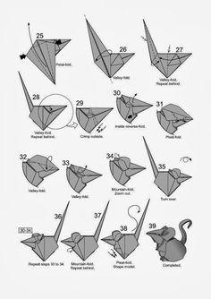Ratón diseñado por Hoang Tien Quyet   El arte del Origami Origami Simple, Instruções Origami, Origami Mouse, Paper Crafts Origami, Oragami, New Year's Crafts, Easy Diy Crafts, Diagrammes Origami, Easy Origami Animals