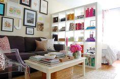 functional studio floor plan - using Ikea Expedit book case & desk as room divider & functional storage.