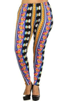 Plus Size Colorful Floral Pattern Stretchy Leggings